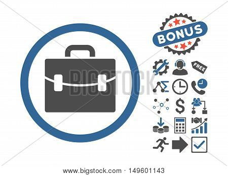 Case pictograph with bonus icon set. Glyph illustration style is flat iconic bicolor symbols, cobalt and gray colors, white background.