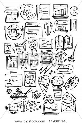 Hand drawn line black and white business lunch set.Business illustration.