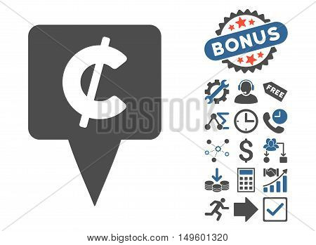 Cent Map Pointer icon with bonus symbols. Glyph illustration style is flat iconic bicolor symbols, cobalt and gray colors, white background.