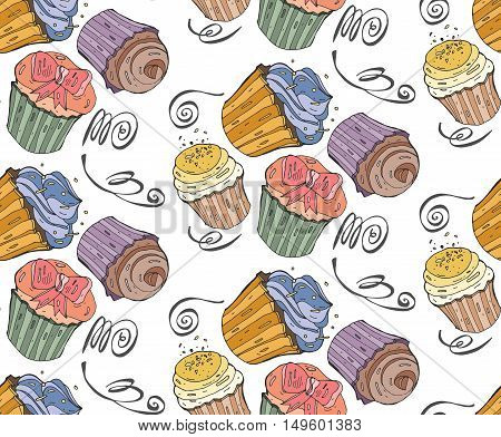 Seamless bakery pattern with hand painted cupcakes with cream and sweet cherries. Vector background with colorful cakes. Print package design wrapping textile.