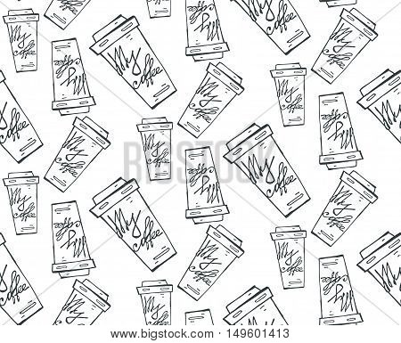 Take out or takeaway coffee seamless pattern. Drink and latte cappuccino beverage refreshment breakfast espresso and caffeine container cardboard vector illustration.Black and white.
