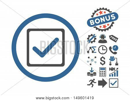 Checkbox pictograph with bonus design elements. Glyph illustration style is flat iconic bicolor symbols, cobalt and gray colors, white background.
