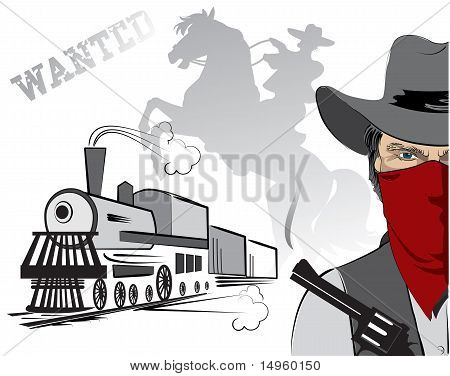 Vector Cowboy And Train. Western Bandit Life