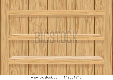 Wooden book shelf. Wooden wall. Vector illustration