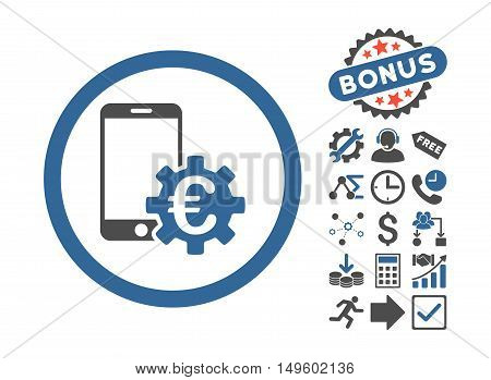 Configure Mobile Euro Bank icon with bonus pictogram. Glyph illustration style is flat iconic bicolor symbols, cobalt and gray colors, white background.