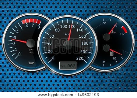 Speedometer tachometer. Car dashboard on blue perforated background. Vector illustration