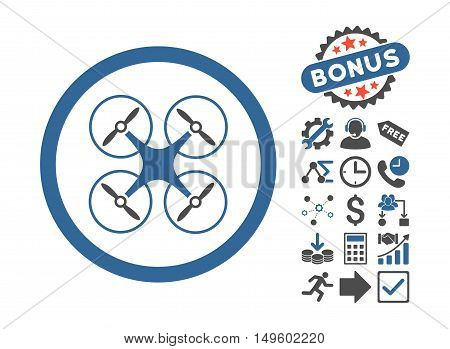 Copter pictograph with bonus pictogram. Glyph illustration style is flat iconic bicolor symbols, cobalt and gray colors, white background.