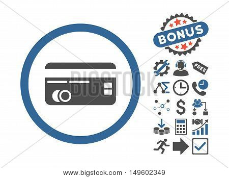 Credit Card icon with bonus elements. Glyph illustration style is flat iconic bicolor symbols, cobalt and gray colors, white background.
