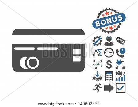 Credit Card icon with bonus clip art. Glyph illustration style is flat iconic bicolor symbols, cobalt and gray colors, white background.