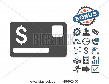 Credit Card pictograph with bonus elements. Glyph illustration style is flat iconic bicolor symbols, cobalt and gray colors, white background.