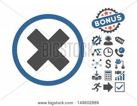 Delete X-Cross icon with bonus pictures. Glyph illustration style is flat iconic bicolor symbols, cobalt and gray colors, white background.
