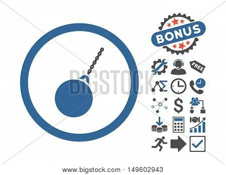 Destruction Hammer pictograph with bonus pictograph collection. Glyph illustration style is flat iconic bicolor symbols, cobalt and gray colors, white background.