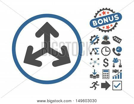 Direction Variants icon with bonus images. Glyph illustration style is flat iconic bicolor symbols, cobalt and gray colors, white background.
