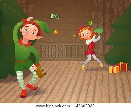 Cute santa's elves playing and packing christmas gifts. Xmas cartoon characters. Vector illustration