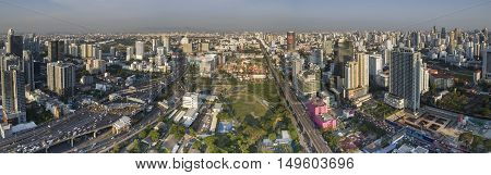 BANGKOK THAILAND - MAY 3 : aerial view of high residence and business skyscraper in heart of bangkok on may 3 , 2016 in bangkok thailand