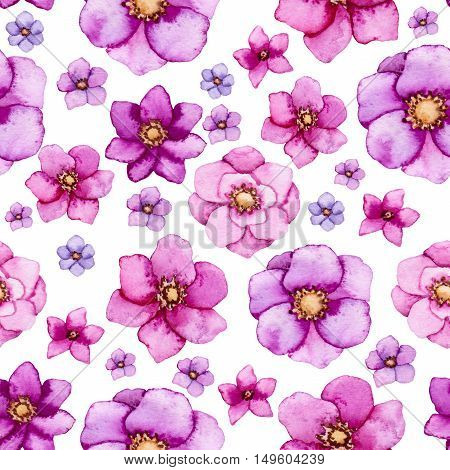 Bright Watercolor Seamless Floral Pattern with Pink and Purple Flowers