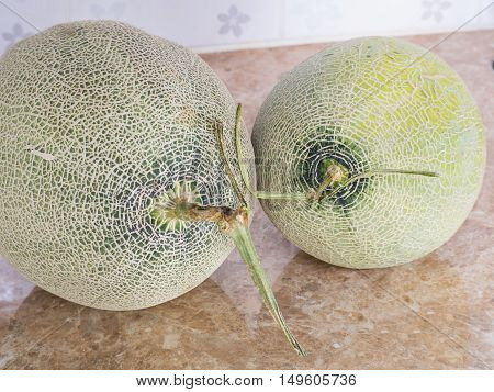 Two Green Japanese Melons On Counter In Kitchen