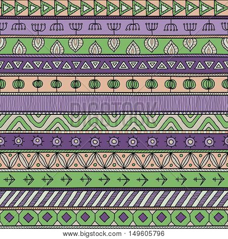 Tribal multicolor seamless pattern. indian or african ethnic patchwork style. Vector image for textile decorative background wrapping paper. Nature colors