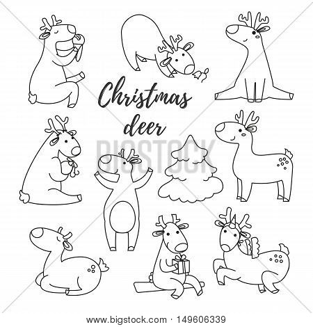 Cute deer collection. Reindeer hand drawn line style. Vector doodles illustrations.
