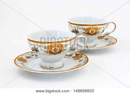 Vintage Tea Set With Gold Decor Isolated