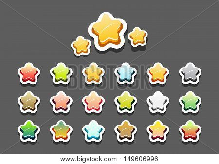 Set of colorful stars for creating video games