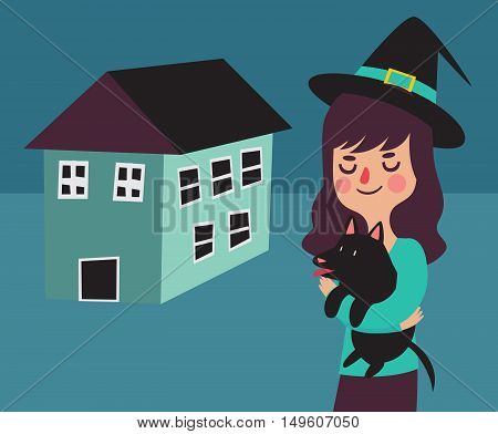 Witch And Her Dog Next To Their New Home