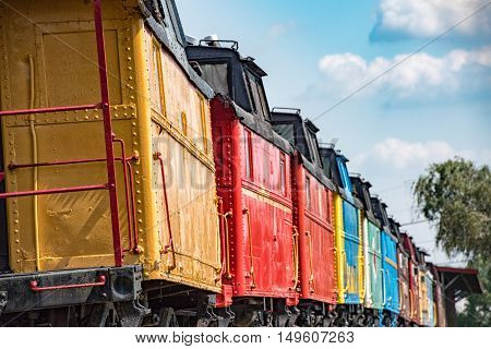 Old Steam Engine Iron Train Colorful Wagons