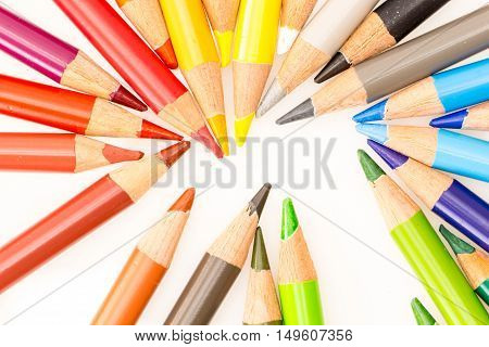 Bunch Of Colorful Pencils , On White Background