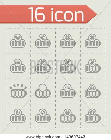 Vector Battery icon set on grey background