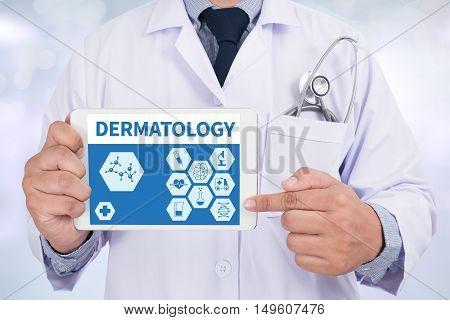 DERMATOLOGY Doctor holding digital tablet doctor work hard top view  concept