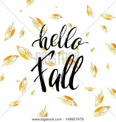Hello fall text isolated on orange leaves background, grunge hand painted letter, vector autumnal lettering on yellow leaf for card, poster, banner, print, handwritten quotes