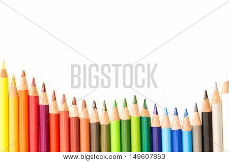 Bunch Of Colorful Pencils, On White Background With Copy-space.