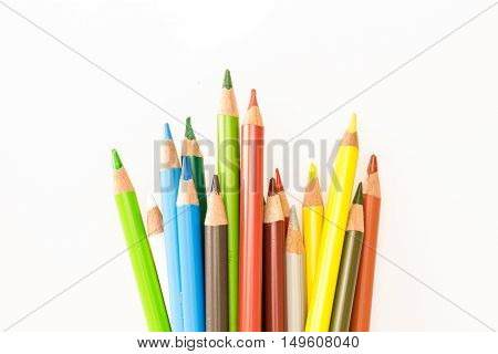 Bunch Of Colorful Pencils, On White Background