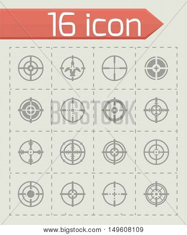 Vector Crosshair icon set on grey background