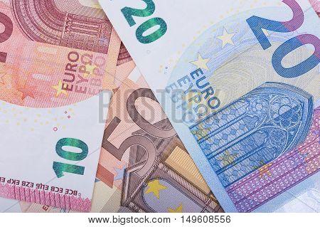 Euro money background. Euro banknotes. European Union Currency