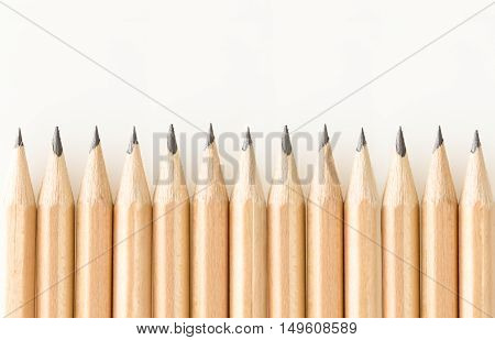 Bunch Of Good Sharpened Graphite Pencils, On White Background With Copy-space.