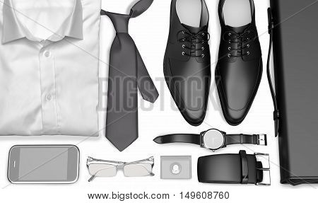 men's business clothes and accessories on white background; mens accessories, 3D illustration