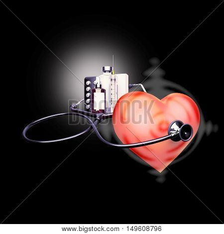 Stethoscope on the heart. Heart - a target for diseases. 3D illustration