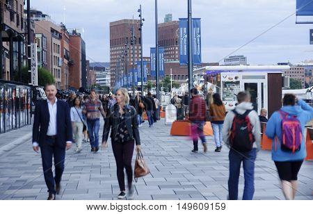 Oslo, Norway - September 16, 2016: Aker Brygge In Oslo On 16 Sep