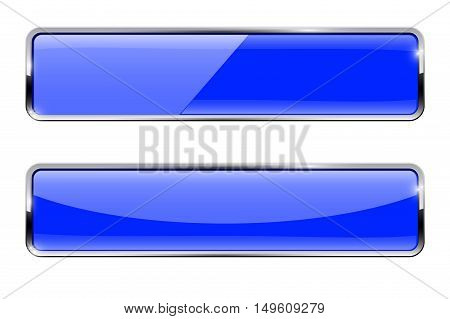 Glass button. Blue rectangular buttons with metal frame. Vector illustration isolated on white background