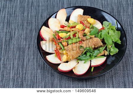 Chinese Vegetable festival  food as fried cashews nut and ginkgo with mixed vegetables,