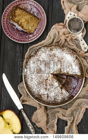 Apple Charlotte With Semolina Topped With Powdered Sugar