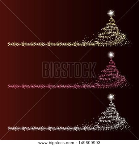 vector illustration of set of silhouettes of trees in different shades made from snowflakes with space for text