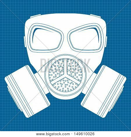 Gas mask icon. Vector illustration on blueprint background