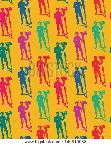 Seamless pattern of cameraman with video camera. Vector yellow background with colorful silhouettes of man. Videographer. Television. Broadcasting.