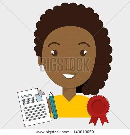 woman student medal ribbon vector illustration eps 10