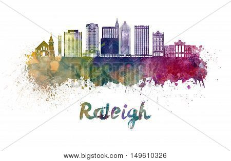 Raleigh skyline in watercolor splatters with clipping path