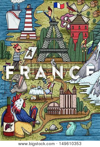 Funny Hand drawn Cartoon France map with most popular places of interest. Vector illustration