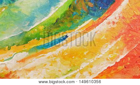 Painted fragment canvas textures. Closeup of canvas painting background