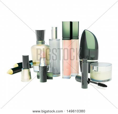 Set of make-up products on white background. Evening make-up. Isolated. 3D illustration
